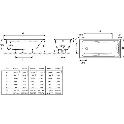 Baignoire ODEON UP 150x70 cm - JACOB DELAFON - E6060-00 pas cher Secondaire 3 L