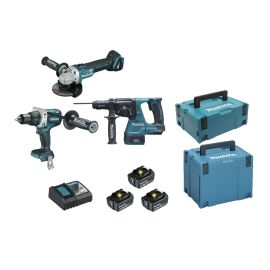 Pack 3 outils sans-fil Makita 18V (DGA506 + DDF481 + DHR243) + 3 batteries 5Ah + chargeur + Makpac 4 pas cher