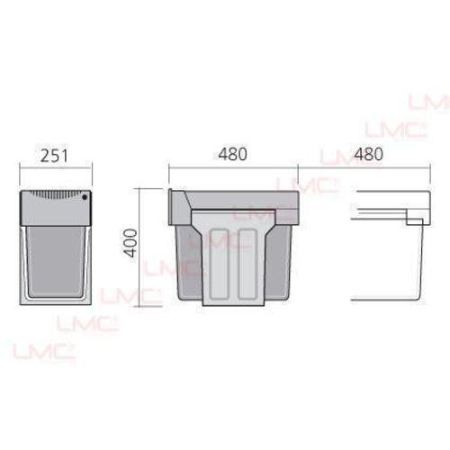 Poubelle coulissante tri sélectif 2 bacs 15L pelle + brosse - LMC - POU3660 pas cher Secondaire 1 L