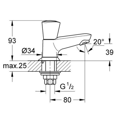 Robinet de lavabo monofluide Costa S - GROHE - 20405001 pas cher Secondaire 1 L