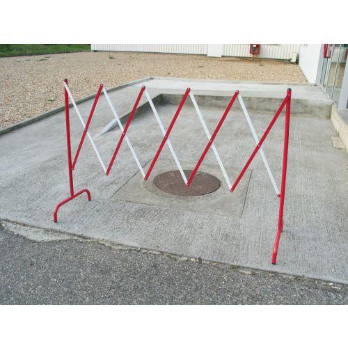 Barrière de chantier extensible en acier rouge/blanc - VISO - BAR001RB pas cher Secondaire 1 L