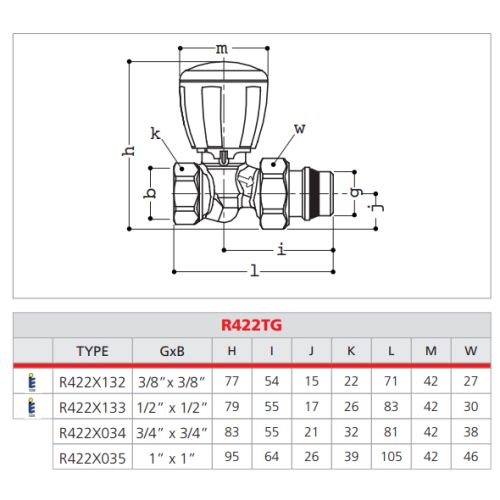 Robinet de radiateur thermostatique droit 3/8 - GIACOMINI - R422X132 pas cher Secondaire 1 L