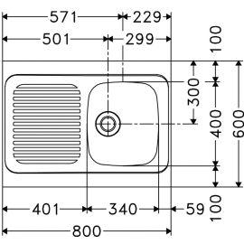 Evier inox à poser 1 cuve + 1 EG 800x600 - FRANKE - 013953 pas cher