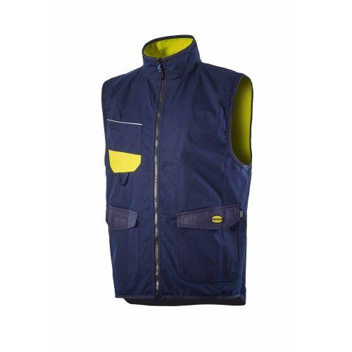 Gilet haute visibilité fluo orange/gris ou jaune/bleu photo du produit