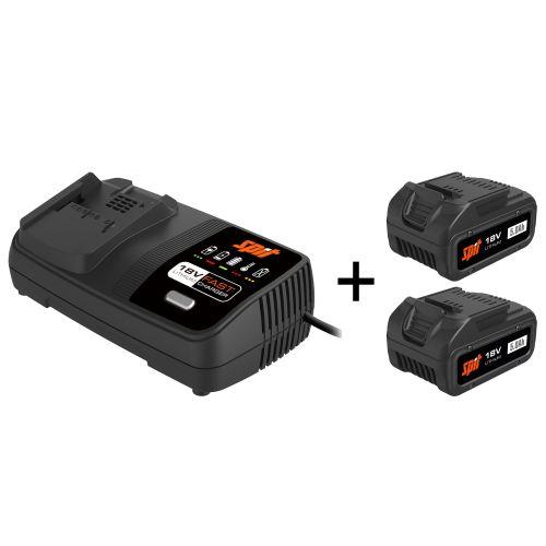 Pack énergie 2 batteries Spit 18 V - 5 Ah + chargeur photo du produit