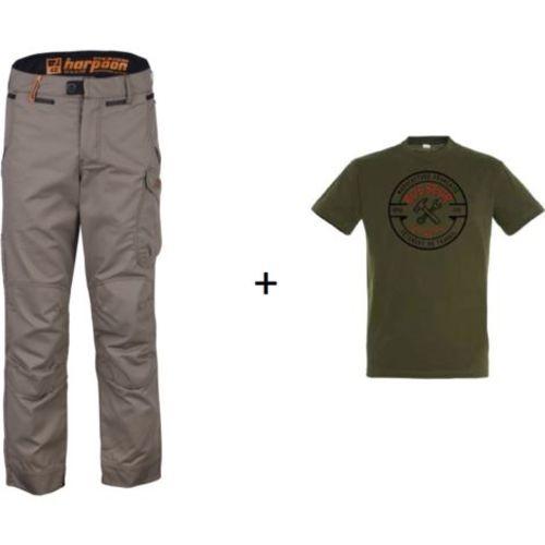 Pantalon harpoon medium noisette 40 + tee-shirt taille L - BOSSEUR - 11180-011 pas cher Principale L