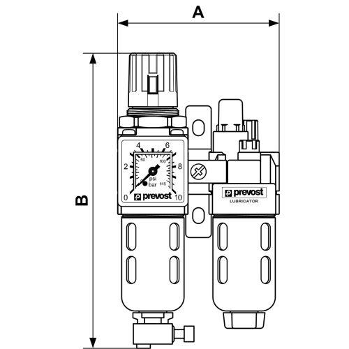 Filtre régulateur pneumatique ALTO 1 - PREVOST - KTB SM1 pas cher Secondaire 1 L