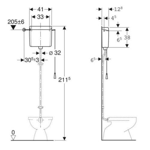 Réservoir Geberit AP123 haute position à chainette photo du produit Secondaire 1 L