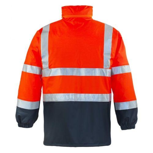 Veste de pluie haute visibilité HARBOR orange fluo / bleu marine taille M - COVERGUARD - 70330 pas cher Secondaire 1 L