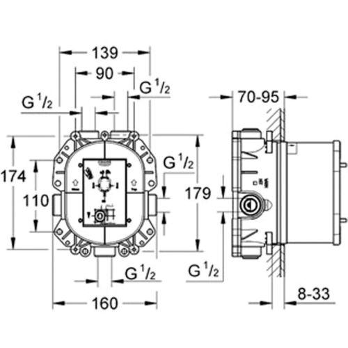 Corps encastré RAPIDO T pour mitigeur thermostatique - GROHE - 35500000 pas cher Secondaire 1 L