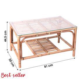Table basse en rotin ELLA avec plaque de verre pas cher