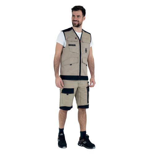 Bermuda de travail homme CRUSHER beige/noir taille 1 - LAFONT - 1ATBUP204BN.1 pas cher Secondaire 2 L