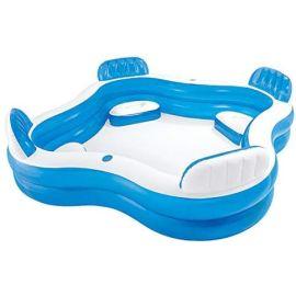 Piscine gonflable familiale octogonale bleue avec sièges et appuie-têtes 229 x 229 x 66 cm - INTEX pas cher Principale M