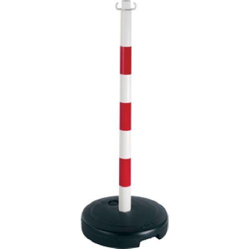 Poteau PVC Rouge/Blanc sur socle à lester 9kg photo du produit Principale L