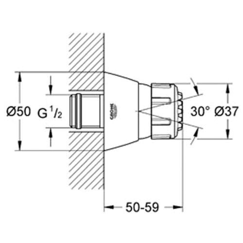 Buse latérale douche Relexa 50 encastrable - GROHE - 28286000 pas cher Secondaire 1 L