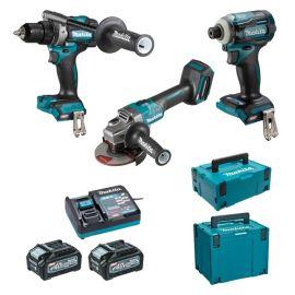 Pack 3 outils Makita DK0125G301 40 V (GA005G + DF001G + TD001G) + 2 batteries 4 Ah + chargeur photo du produit