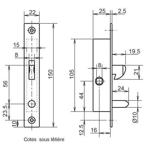 Serrure 1 point coffre 24/25 crochet avec gâche - METALUX - F124250010 pas cher Secondaire 1 L