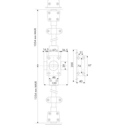 Verrou 3 points CAVITH A2P1 à bouton gauche - ISEO - 1410HB35.5 pas cher Principale L