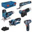 Pack de 5 machines 12 V (GSR12+GST70+GWS26+GOP12+GHO20) avec 3 batteries 2 Ah en coffret XL-BOX - BOSCH - 0615A0017D pas cher