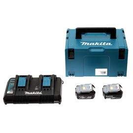 Pack énergie Makita LI-ION (2 batteries 5 Ah BL1840B + chargeur DC18RD) 18 V + coffret MAKPAC pas cher