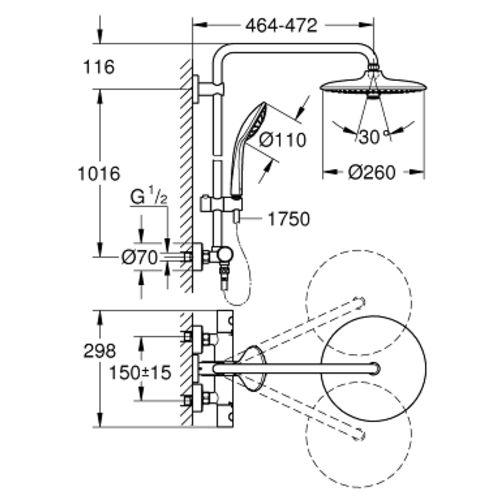 Colonne de douche Euphoria System 260 avec mitigeur thermostatique - GROHE - 27296002 pas cher Secondaire 1 L