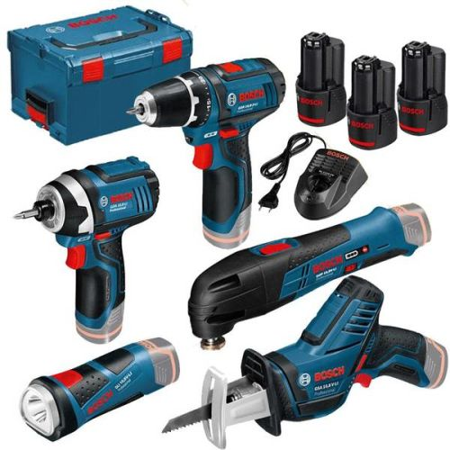 Pack 5 outils sans fil 12 V Bosch + 3 batteries 2,0 Ah + L-BOXX photo du produit