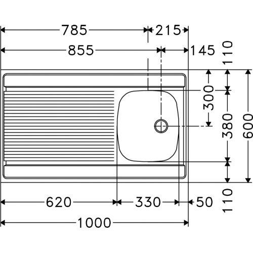 Evier inox à poser 1000x600 1 cuve - FRANKE - 013939 pas cher Principale L