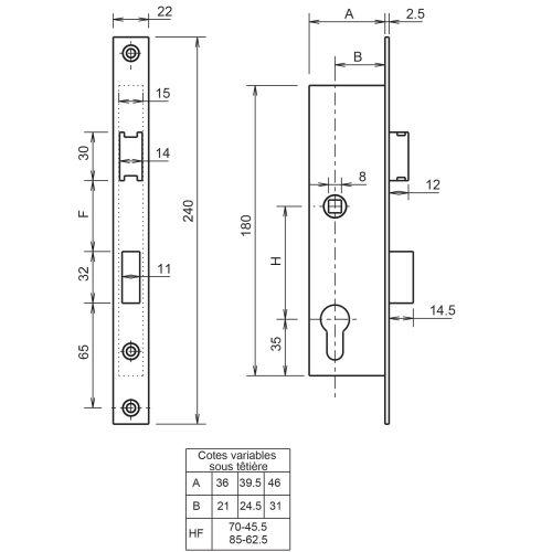 Serrure 1 point coffre 7/46 entraxe 85 - METALUX - F107460100 pas cher Secondaire 3 L