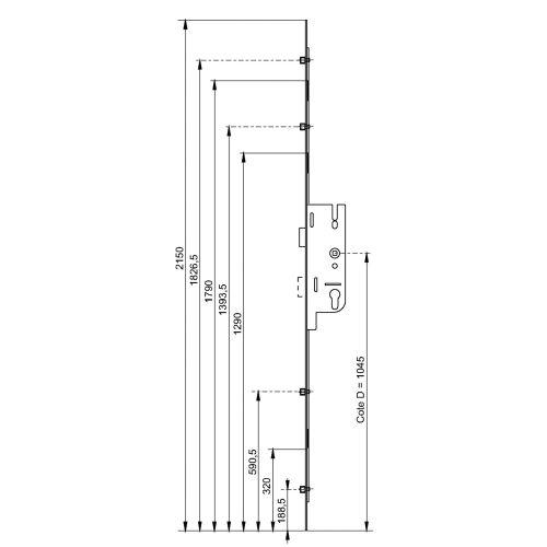 Serrure à larder Europa 50/70 4 galets têtière 16mm Longueur 2150mm - FERCO - 6-33604-01-0-1 pas cher Secondaire 1 L