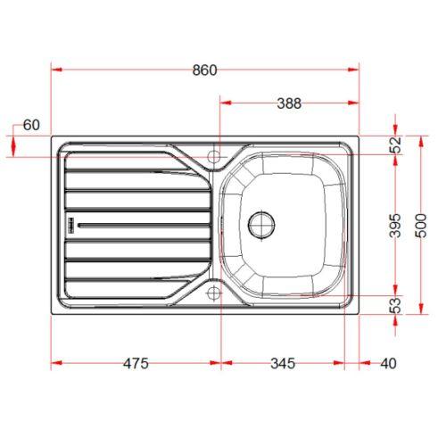Evier inox encastrable 1 cuve + 1 egouttoir 86 x 50 cm - FRANKE - 897659 pas cher Secondaire 1 L