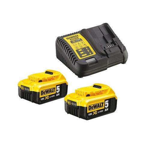 Pack Dewalt DCB115P2 2 batteries 18 V XR LI-ION 5,0 Ah + chargeur XR multivoltage photo du produit