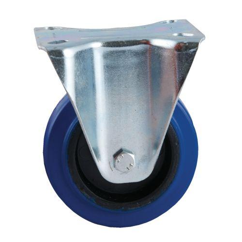 Roulette fixe à platine rectangulaire caoutchouc bleu Ø 100 charge 150 kg - AVL - 527822O pas cher Principale L
