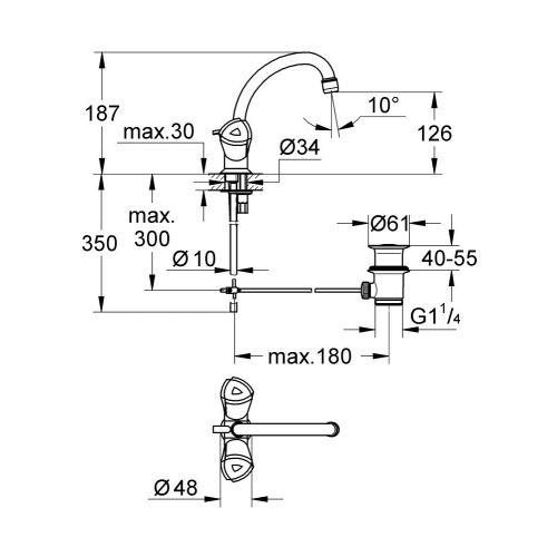 Mélangeur bidet/lave-mains ADRIA tube fixe - GROHE - 24440000 pas cher Secondaire 1 L