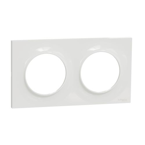 Plaque STYL blanche ODACE 2 postes horizontal/vertical entraxe 71mm - SCHNEIDER ELECTRIC - S520704 pas cher Principale L