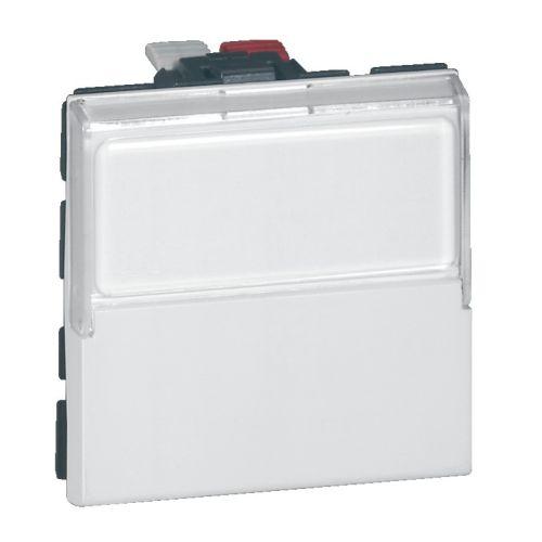 Poussoir inverseur 6A 2 modules porte étiquette MOSAIC LEGRAND 077043 photo du produit Principale L