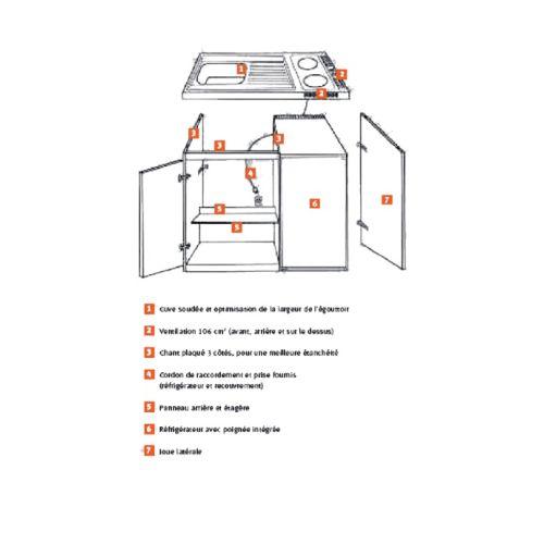 Kichenette electrique 90 x 60 plaque 2 feux Meuble et frigo 18/10 WH - FRANKE - 691516 pas cher Secondaire 1 L