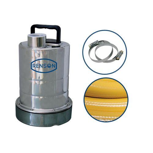 Pompe serpillère inox 2 mm + tuyau refoulement + raccords - RENSON - 164034 pas cher Principale L