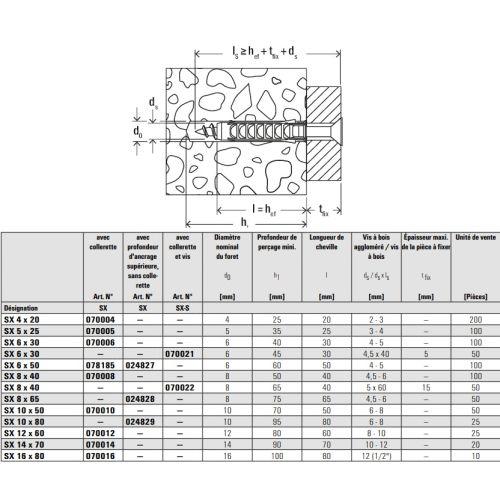 Cheville à expansion SX5 Nylon - FISCHER - 70005 pas cher Secondaire 3 L