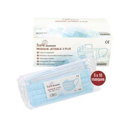Masques jetables chirurgicaux Hanger Safe 3 plis CE Type II EN 14683 photo du produit