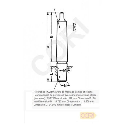 Arbre de montage cône morse 112 mm pour mandrin de perceuse CM 2 - CORI - C2B16 pas cher Secondaire 1 L