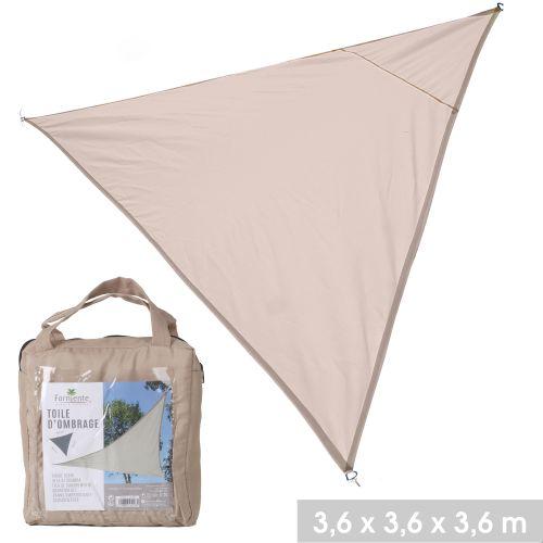 Toile d'ombrage triangle en polyester 3,6 x 3,6 x 3,6 m beige pas cher Principale L