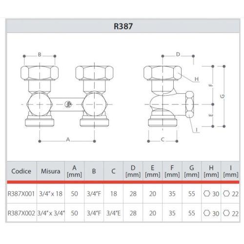 Robinet de radiateur droit BITUBE  F 3/4 et 3/4 - GIACOMINI - R387X002 pas cher Secondaire 1 L