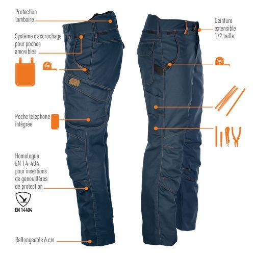 Pantalon multi-travaux Harpoon Medium bleu marine taille 36 - BOSSEUR - 11086-021 pas cher Secondaire 1 L
