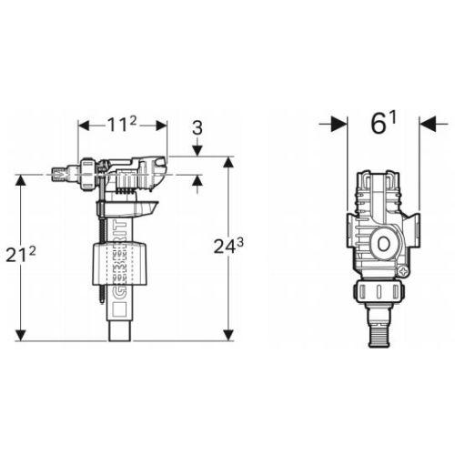 Robinet flotteur type 380 alimentation latérale - GEBERIT - 281.002.00.1 pas cher Secondaire 1 L