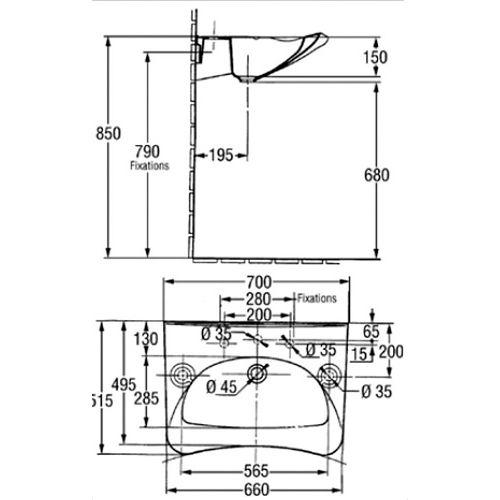 Lavabo Handilav PMR 70x54 blanc - JACOB DELAFON - E1980-00 pas cher Secondaire 1 L