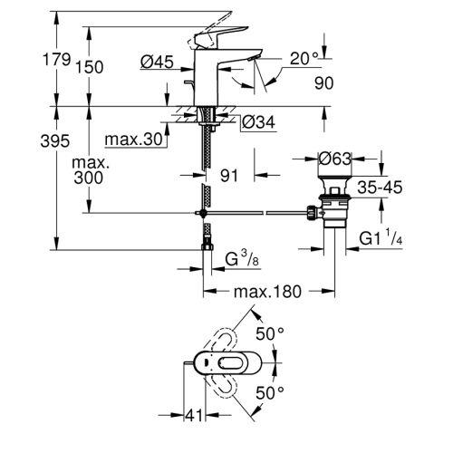 Mitigeur de lavabo monocommande Bauloop taille S - GROHE - 23335000 pas cher Secondaire 1 L