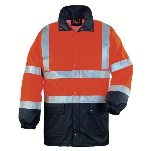 Veste de pluie haute visibilité HARBOR orange fluo / bleu marine taille M - COVERGUARD - 70330 pas cher