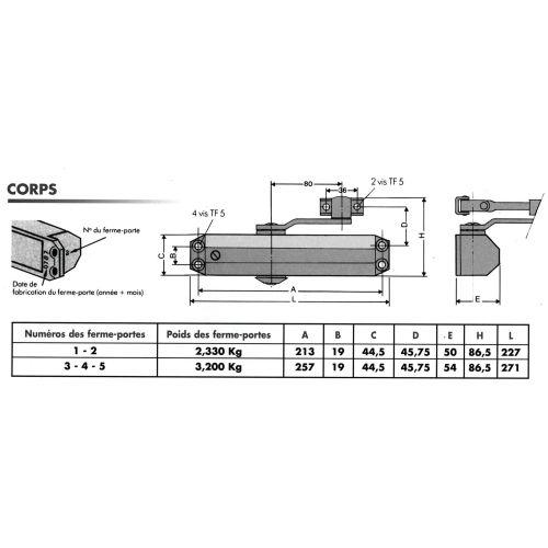 Ferme-porte série GR010 force 2 fourni avec bras réglable - GROOM - 50211X pas cher Secondaire 1 L