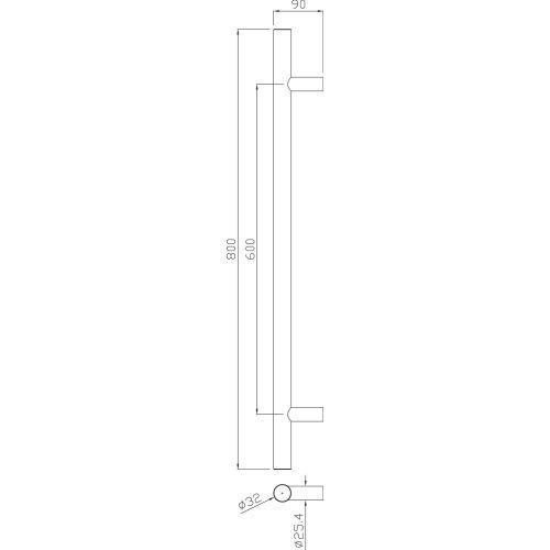 POIGNEE TIRAGE 5010 32X600MM - HERACLES - B-INOX-PT109 pas cher Principale L