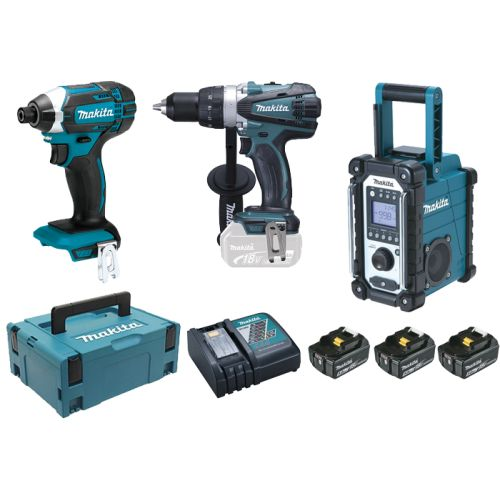 Pack visseuses sans-fil 18 V Makita (DDF458/DTD152) + radio + 3 batteries 5 Ah + chargeur + Coffret photo du produit